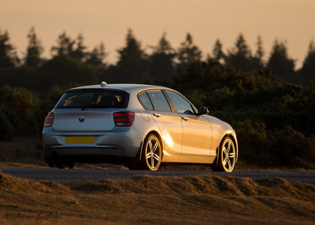 Bmw sunset forest